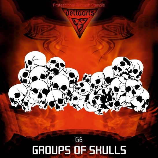 Airbrush Stencil Template DELTAARTS Pile Group Of Skulls G6 MINI MID